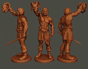3D print model Male Barbarian 2HSword Cut Head2