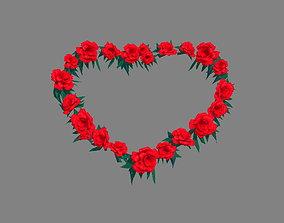 3D model Cartoon Rose Flower Wreath - Love Heart
