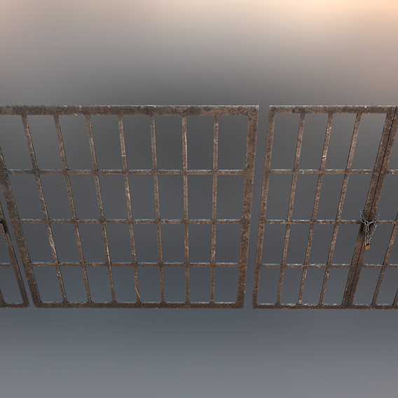 Dungeon Prison Bars With Chains and Padlock PBR