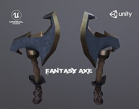 3D model Game Ready Low Poly Fantasy Axe accessories