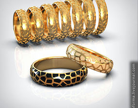 Wedding ring set of all sizes comfort 3D printable model 2