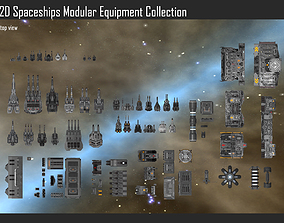 2D Spaceship Modular Equipment Collection 3D model