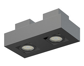 Black Double Rectangular Halogen Light 3D Model