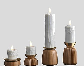 3D model Melted candles set