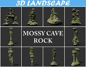 3D asset Low poly Mossy Cave Rock Module 191220