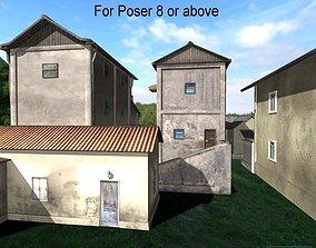 Blocks village Poser 3D asset