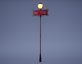 3D asset Metro Sign Low Poly Game Ready