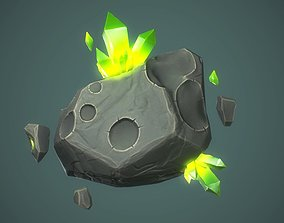 3D model Stone with crystals prop Game Ready