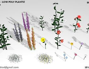 18 Ultra Low poly flowers and plants 3D asset