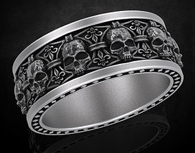 Ring skull with heraldic lily many 3D printable model 1