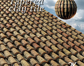 3D Tapered clay tile or spanish roof tile texture set