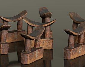 3D model game-ready Headrest Africa Wood Furniture Prop 28