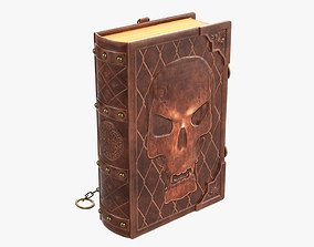 3D model Old book in leather decorated 01