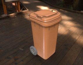 Brown Plastic Waste Bin 120 Liters 945x393x480 3D asset