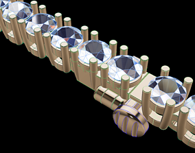 3D printable model Diamond Tennis Bracelet 3MM Link