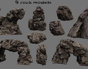 Rock Set rocks 3D asset game-ready