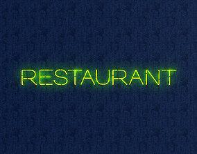 Restaurant Neon Sign 3D asset
