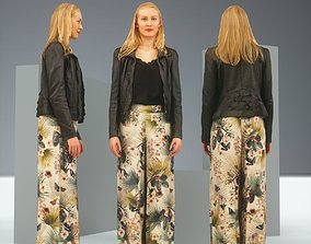 Blonde wearing Decorated Pants and Leather Jacket 3D asset