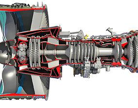 3D model GTF Cutaway Turbofan Engine