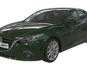 3D model Realistic Car Mazda 3 with Interior Rigged PBR