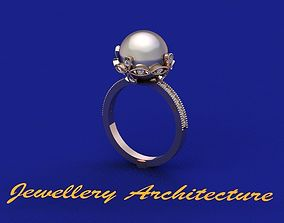 3D print model Pearl Ring With Diamonds 10mm