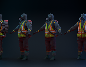 3D model rigged VR / AR ready Hazmat Suit