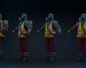3D model rigged Hazmat Suit