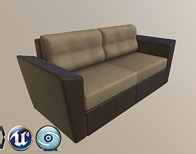 3D model sofa from leather and textile
