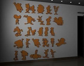 3D model cartoon silhouettes