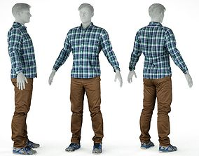 Male Casual Outfit 57 Shirt Trousers Footwear 3D asset