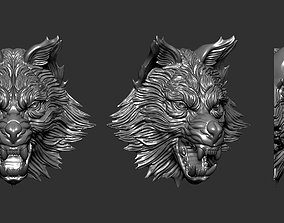3D printable model relief Wolf Head