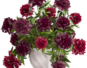 Bouquet red Peonies 3D model