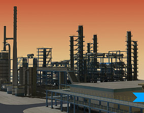 Refinery 3D asset low-poly