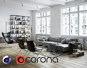 Living Room Interior Scene for Cinema 4D and Corona 3D