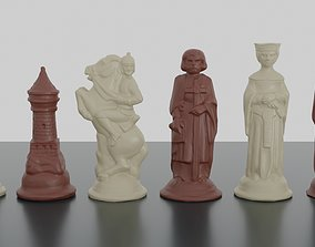 RENAISSANCE CHESS PIECES 3D PRINT MODEL OBJ 3MF
