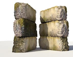 3D model mossy concrete block