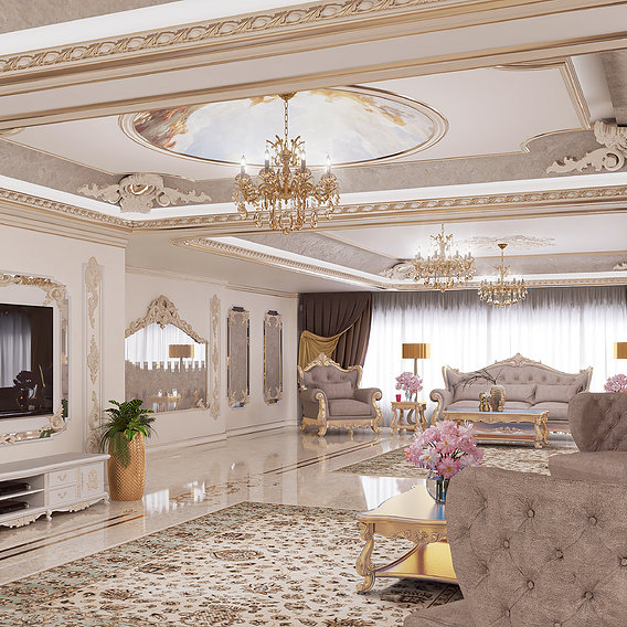 Classic style living room design and rendering