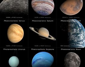 Photorealistic Solar System 3D asset animated