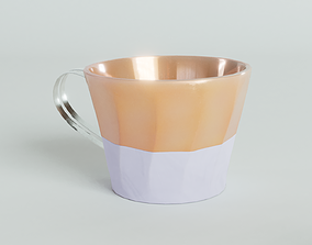 3D model PBR Iridescent peach luster porcelain cup