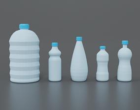 Low Poly Cartoon Water Bottles 3D model
