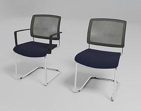 metal GAYA - Cantilever upholstered chair - 3D model