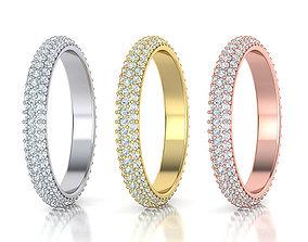 3D print model Full Eternity 3 Row Diamond band ring