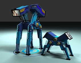Two robots Dad and son 3D