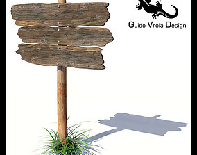 3D model Old wood board