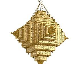 3D Chairish Square Brass Work Lantern Medium