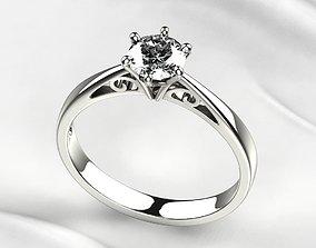Single Diamond Gold Ring 3D printable model