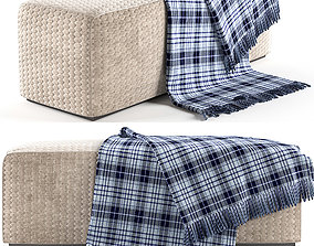 Modern padded-stool with scarf house 3D model