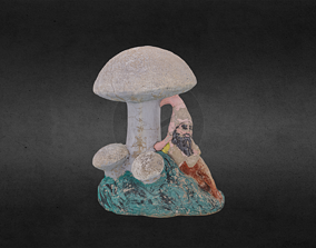 Mushroom with Gnome Statue 3D