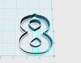 Vintage number 8 cookie cutter 3D printable model