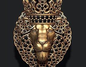 Leon pendant with diamonds and 3D print model 1